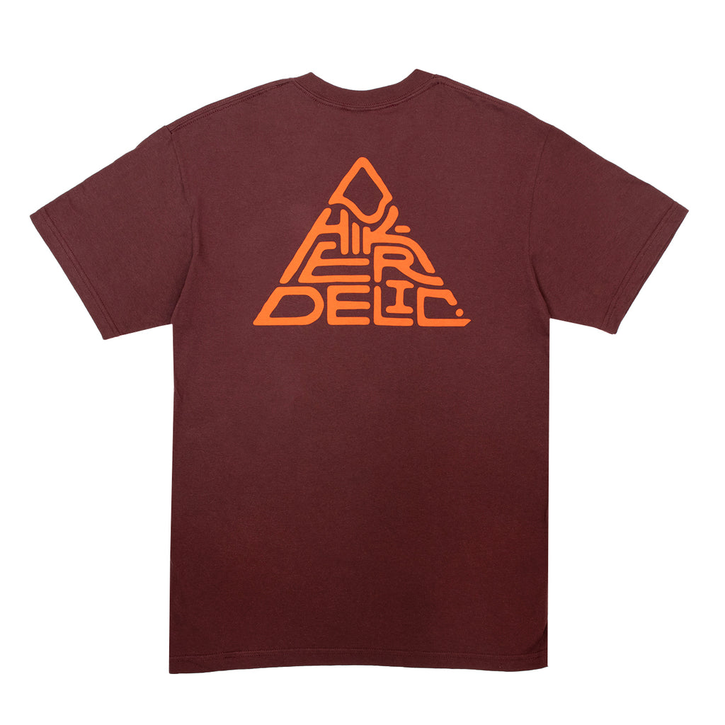 Hikerdelic 60° Mountain Logo T-Shirt - Maroon - Hikerdelic Shop