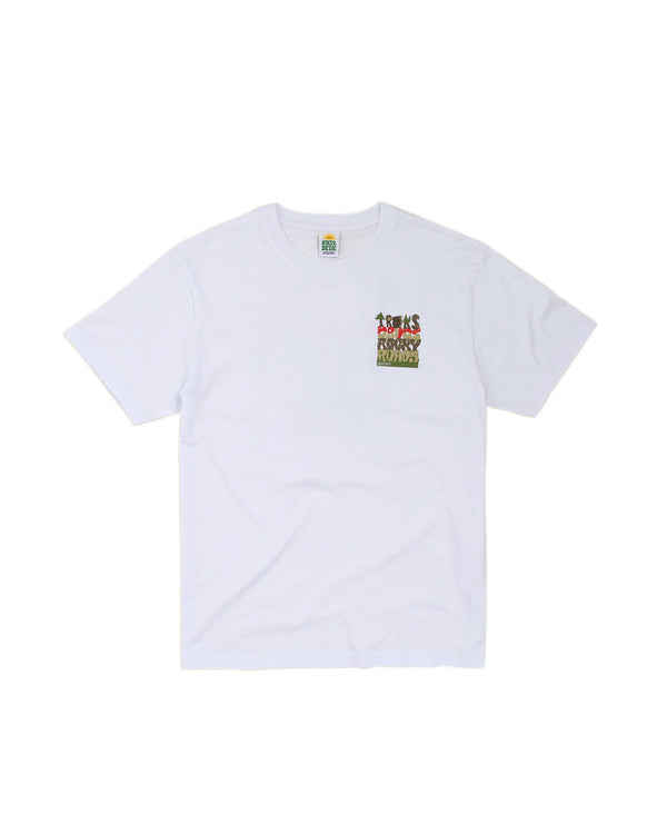 Hikerdelic Treks and Drugs Mountain T-Shirt White