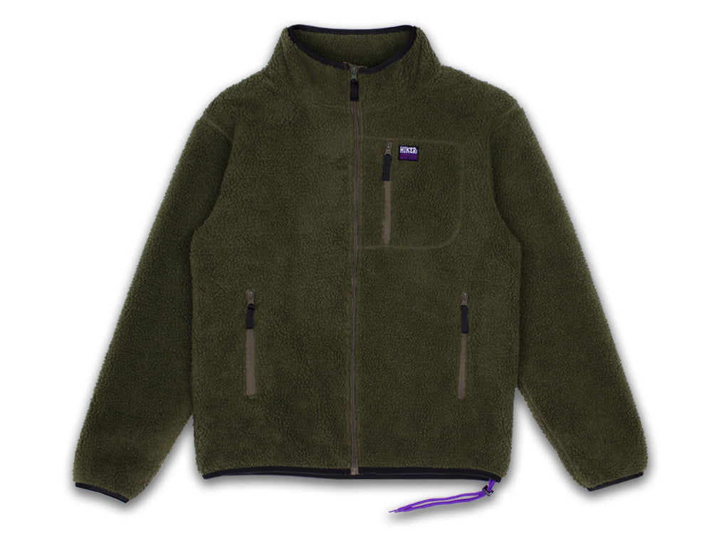 Hikerdelic Topping Fleece Jacket - Olive/Purple - Hikerdelic Shop