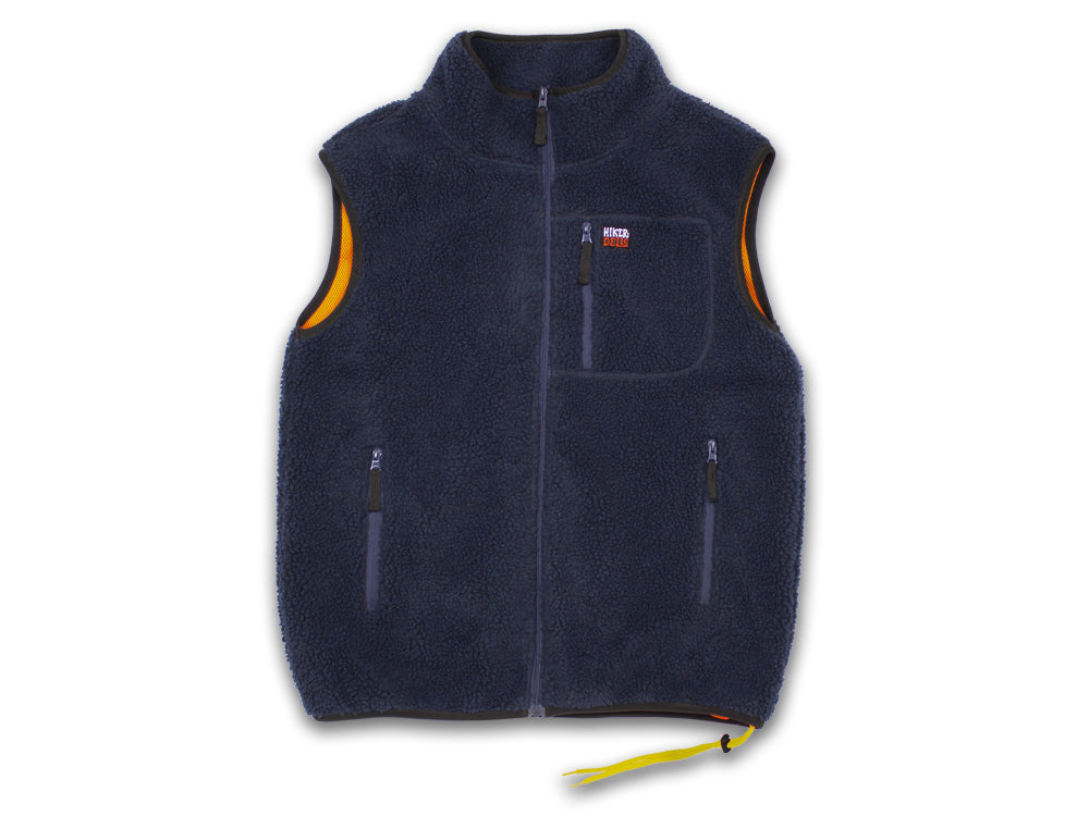 Hikerdelic Newby Fleece Gilet - Navy/Orange - Hikerdelic Shop