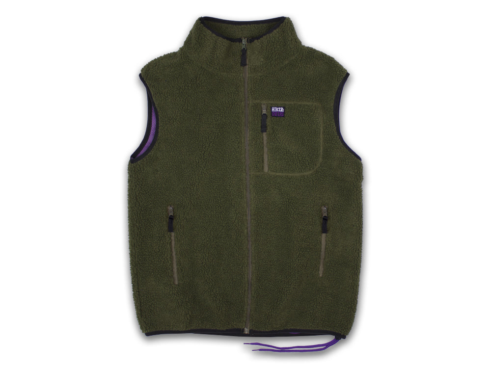 Hikerdelic Newby Fleece Gilet - Olive/Purple - Hikerdelic Shop