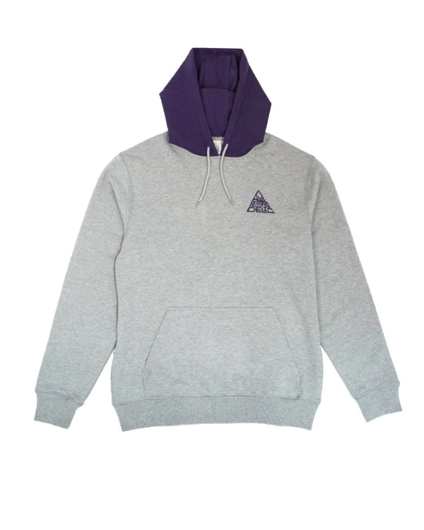 Hikerdelic Mountain Logo Hooded Sweatshirt - Grey Marl / Purple