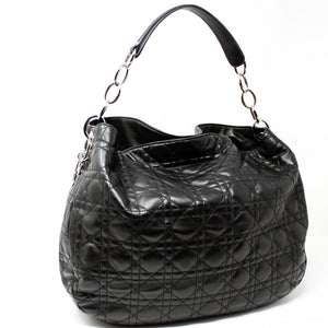 9978f58c7626 Christian Dior Black Lady Dior Cannage Quilted Lambskin Leather Hobo Bag