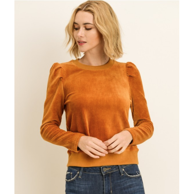 Velour Puff Sleeve Sweater