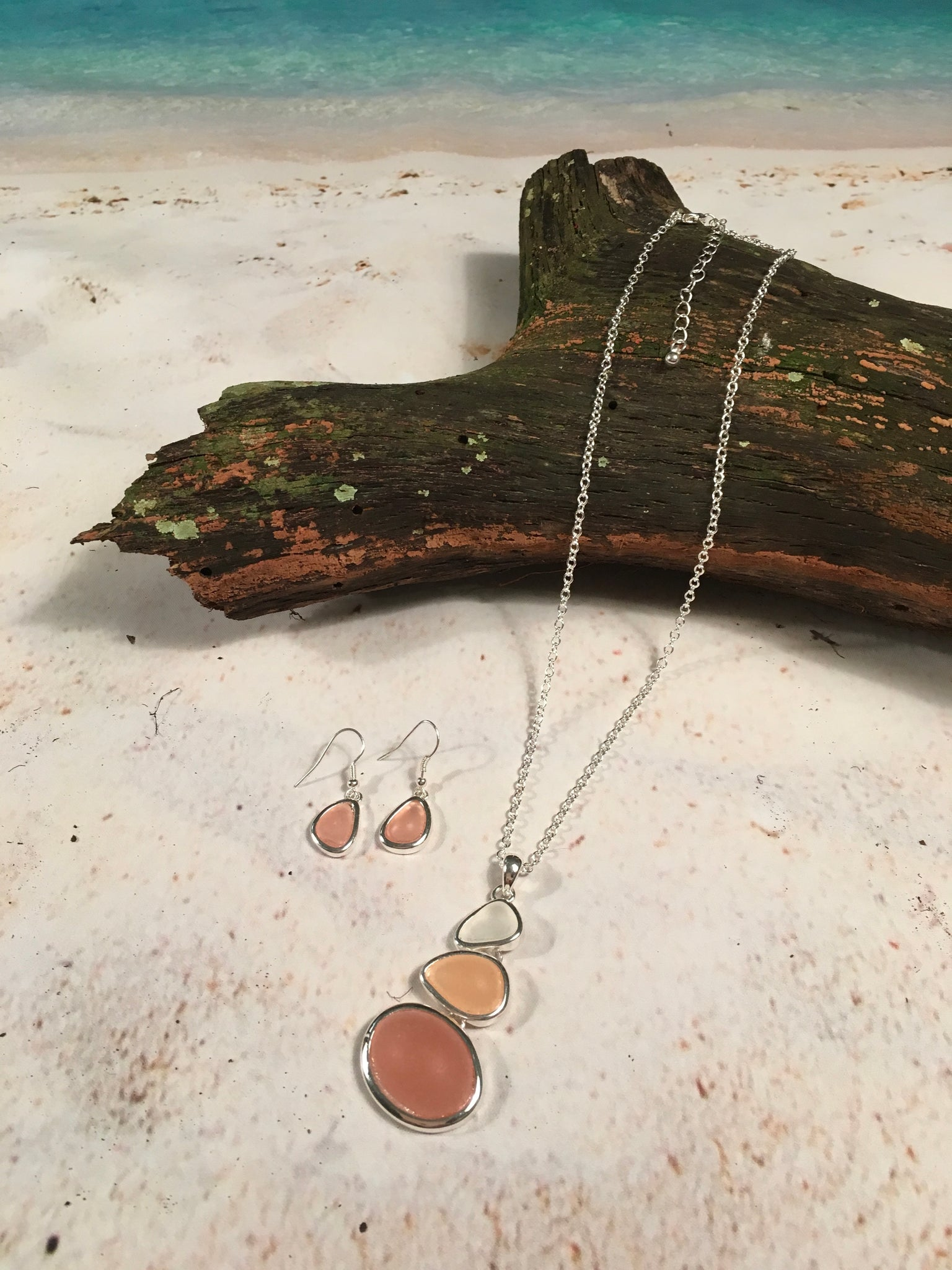 Sea Glass Pendant Necklace & Earrings Set In Coral Shades