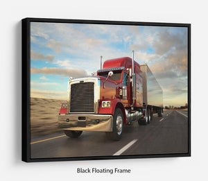 18 Wheel Red Truck Floating Frame Canvas