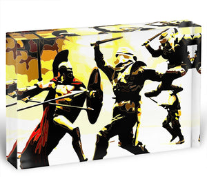 300 Movie Fight Scene Acrylic Block - Canvas Art Rocks - 1
