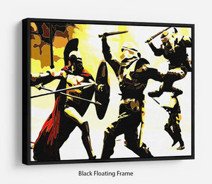 300 Movie Fight Scene Floating Frame Canvas