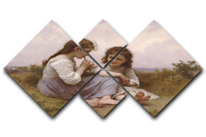 A Childhood Idyll 1900 By Bouguereau 4 Square Multi Panel Canvas