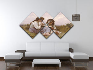 A Childhood Idyll 1900 By Bouguereau 4 Square Multi Panel Canvas - Canvas Art Rocks - 3