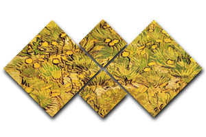 A Field of Yellow Flowers by Van Gogh 4 Square Multi Panel Canvas  - Canvas Art Rocks - 1