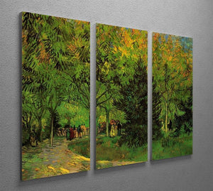 A Lane in the Public Garden at Arles by Van Gogh 3 Split Panel Canvas Print - Canvas Art Rocks - 4