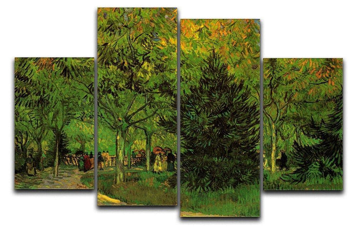 A Lane in the Public Garden at Arles by Van Gogh 4 Split Panel Canvas