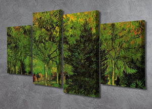 A Lane in the Public Garden at Arles by Van Gogh 4 Split Panel Canvas - Canvas Art Rocks - 2