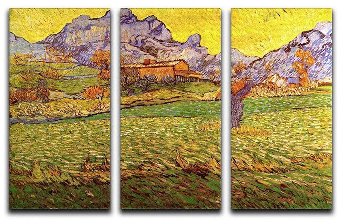 A Meadow in the Mountains Le Mas de Saint-Paul by Van Gogh 3 Split Panel Canvas Print
