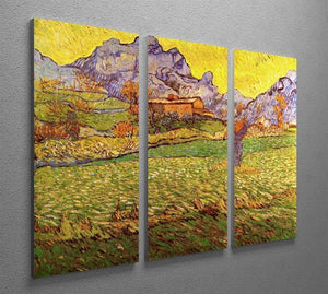 A Meadow in the Mountains Le Mas de Saint-Paul by Van Gogh 3 Split Panel Canvas Print - Canvas Art Rocks - 4