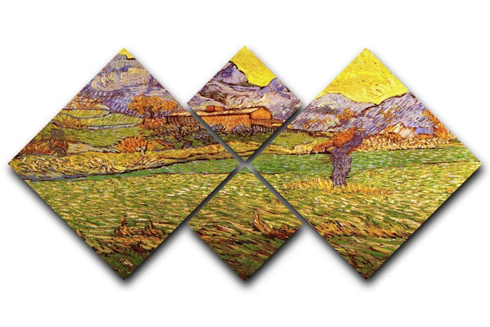 A Meadow in the Mountains Le Mas de Saint-Paul by Van Gogh 4 Square Multi Panel Canvas