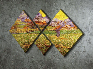 A Meadow in the Mountains Le Mas de Saint-Paul by Van Gogh 4 Square Multi Panel Canvas - Canvas Art Rocks - 2