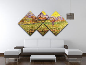 A Meadow in the Mountains Le Mas de Saint-Paul by Van Gogh 4 Square Multi Panel Canvas - Canvas Art Rocks - 3