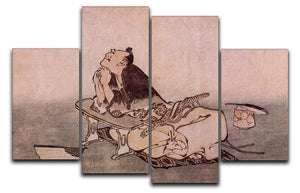 A Philospher looking at two butterflies by Hokusai 4 Split Panel Canvas  - Canvas Art Rocks - 1