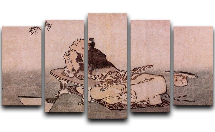 A Philospher looking at two butterflies by Hokusai 5 Split Panel Canvas