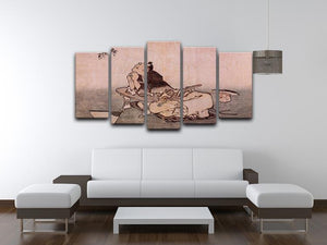 A Philospher looking at two butterflies by Hokusai 5 Split Panel Canvas - Canvas Art Rocks - 3