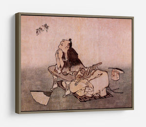 A Philospher looking at two butterflies by Hokusai HD Metal Print