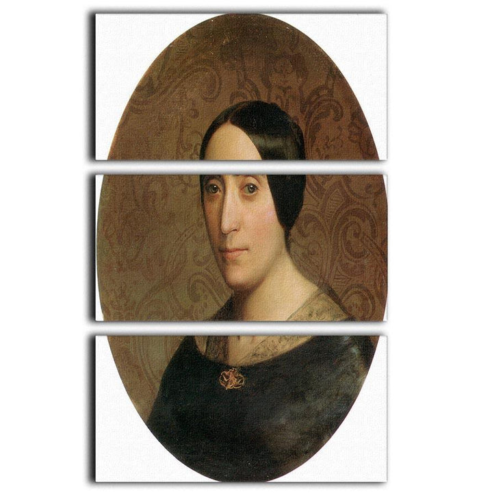 A Portrait of Amelina Dufaud Bouguereau 1850 By Bouguereau 3 Split Panel Canvas Print