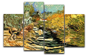 A Road at Saint-Remy with Female Figure by Van Gogh 4 Split Panel Canvas  - Canvas Art Rocks - 1