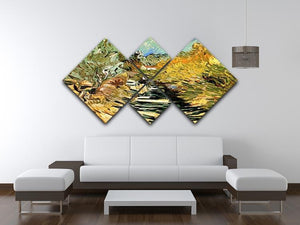 A Road at Saint-Remy with Female Figure by Van Gogh 4 Square Multi Panel Canvas - Canvas Art Rocks - 3