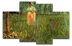 A Woman Walking in a Garden by Van Gogh 4 Split Panel Canvas  - Canvas Art Rocks - 1