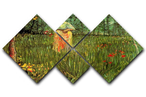A Woman Walking in a Garden by Van Gogh 4 Square Multi Panel Canvas  - Canvas Art Rocks - 1
