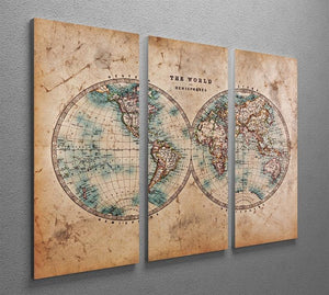 A genuine old stained World map 3 Split Panel Canvas Print - Canvas Art Rocks - 2
