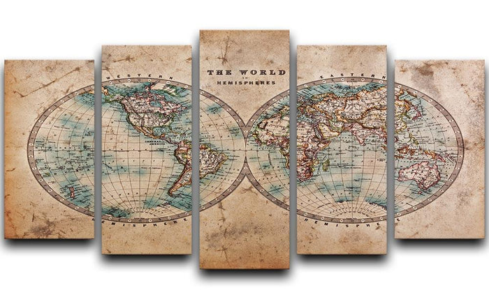 A genuine old stained World map 5 Split Panel Canvas