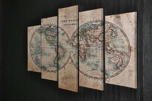 A genuine old stained World map 5 Split Panel Canvas  - Canvas Art Rocks - 2