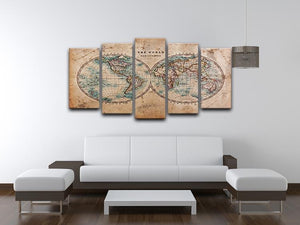 A genuine old stained World map 5 Split Panel Canvas  - Canvas Art Rocks - 3