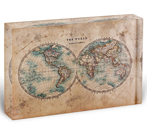 A genuine old stained World map Acrylic Block - Canvas Art Rocks - 1