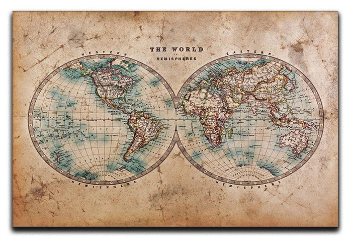 A genuine old stained World map Canvas Print or Poster