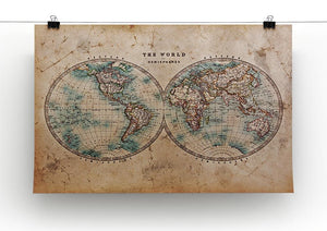 A genuine old stained World map Canvas Print or Poster - Canvas Art Rocks - 2