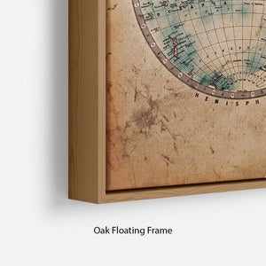 A genuine old stained World map Floating Frame Canvas