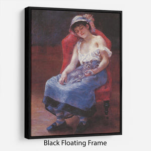 A girl asleep by Renoir Floating Frame Canvas