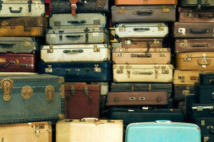 A lot of Old vintage suitcases Wall Mural Wallpaper - Canvas Art Rocks - 1