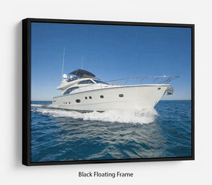 A luxury private motor yacht Floating Frame Canvas