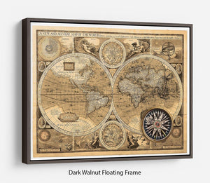 A new and accvrat map of the world Floating Frame Canvas
