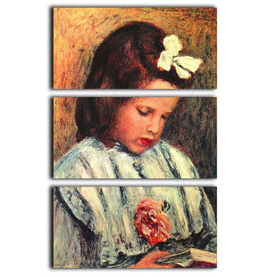 A reading girl by Renoir 3 Split Panel Canvas Print - Canvas Art Rocks - 1