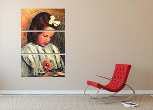 A reading girl by Renoir 3 Split Panel Canvas Print - Canvas Art Rocks - 2