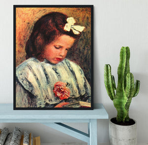 A reading girl by Renoir Framed Print - Canvas Art Rocks - 2
