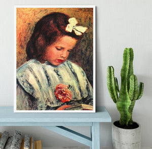A reading girl by Renoir Framed Print - Canvas Art Rocks -6