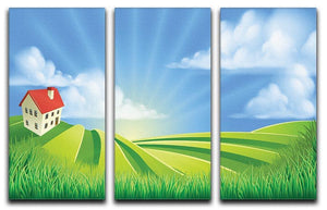 A rolling hills fields farm sunrise 3 Split Panel Canvas Print - Canvas Art Rocks - 1