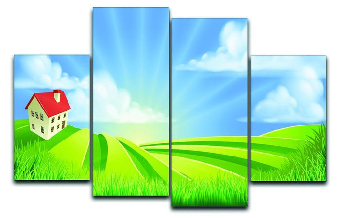 A rolling hills fields farm sunrise 4 Split Panel Canvas